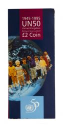 1995 £2 United Nations Brilliant Uncirculated pack for sale